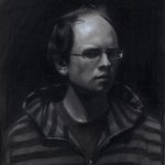 Brock Alius, Self portrait, charcoal/chalk, 14 x 18.