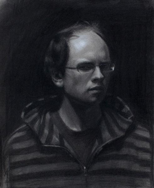 Brock Alius, Self portrait, charcoal/chalk, 14 x 18.