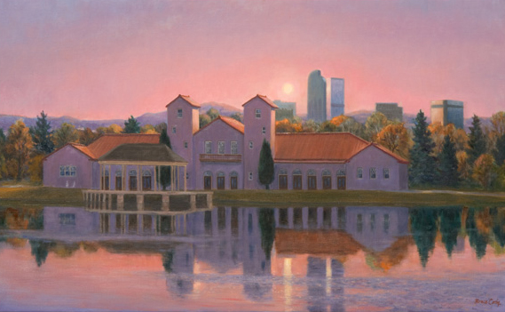 Bruce Cody, Pavillion Sunset, oil, 20 x 36.
