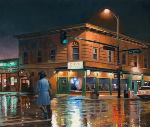 Bruce Cody, Walking in the Rain, oil, 26 x 30.