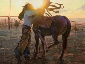 Bruce A. Greene, Daybreak for a Bronc Man, oil, 30 x 40.