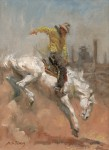 Andy Thomas, Bucking Bronc, oil, 11 x 9.
