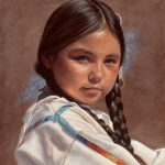 Ann Hanson, Buckskin and Braids, oil, 12 x 9.