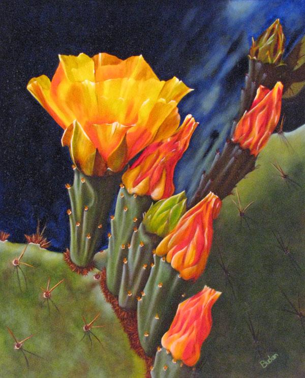 Karen Budan, Cactus Beauty, oil, 20 x 16.