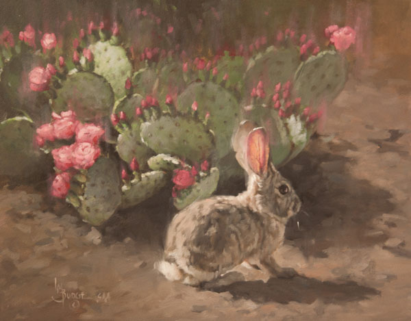 Linda Budge, Pink Lights, oil, 16 x 20.