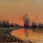 Nancy Bush, Sunset on the Pond, oil, 20 x 24.