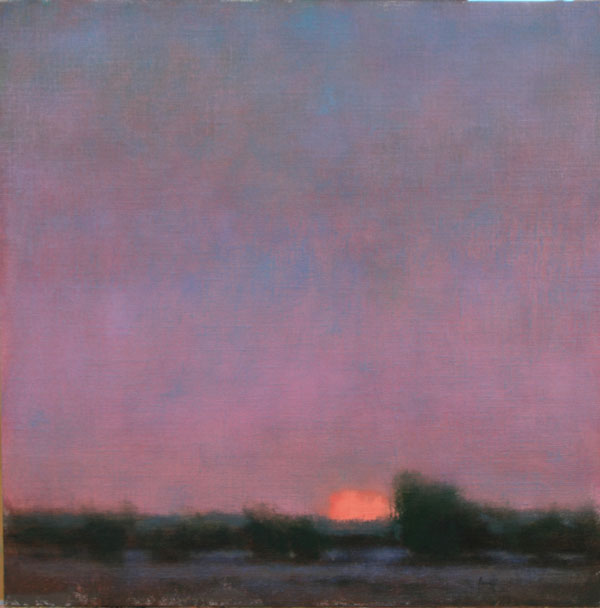 Nancy Bush, Sunset, oil, 20 x 20.