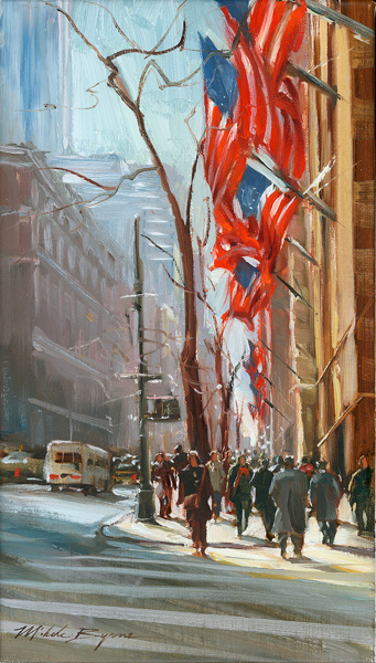 Michele Byrne, Red White and Blue, oil cityscape painting