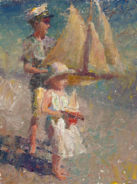 C.W. Mundy, Two Children With Pond Yachts, oil, 12 x 9.