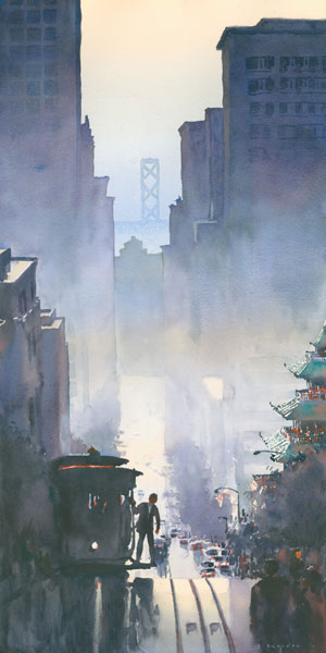 California Street Cable Car, San Francisco, watercolor, 28 x 14.