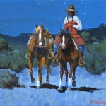 Doug Candelaria, Moonlight Rider, oil, 9 x 12.