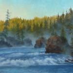 Carol Lee Thompson, Dawn's Cascade, oil, 18 x 32.