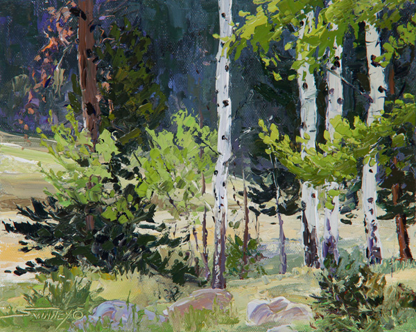 Carol Swinney, Colorado Aspens, oil, 8 x 10.