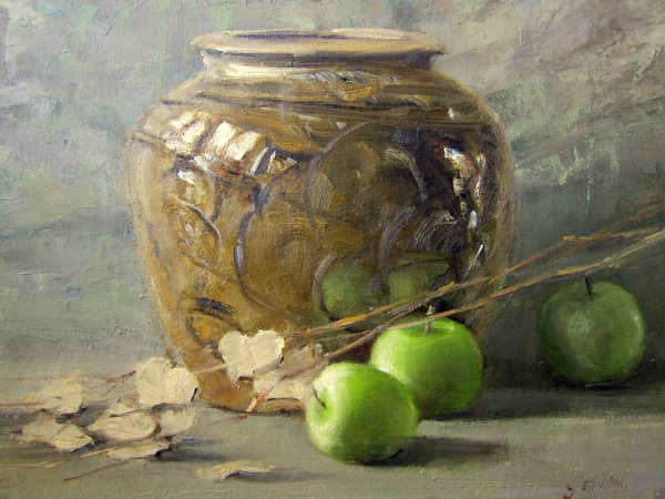 Carol Jenkins, Green Apples, oil, 11 x 14.