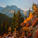 Mitch Caster, Autumn Trail to Glacier Gorge, oil, 36 x 48.