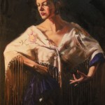 Mitch Caster, La Flamenca Con Flores, oil 24 x 18.