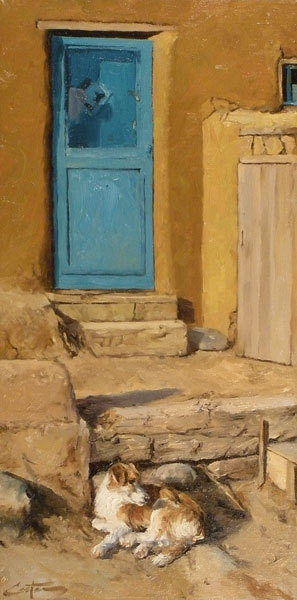 Mitch Caster, Pueblo Home, oil, 24 x 12.