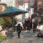 Yen-Ching Chang, Catching the Sun at Union Square, oil, 6 x 8.