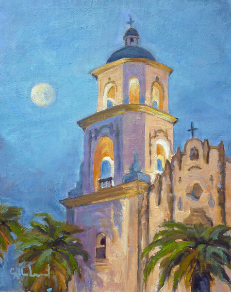 Cynthia Underwood, Cathedral Dusk, oil, 10 x 8.