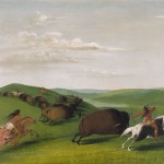George Catlin, Buffalo Chase With Bows and Lances, oil, 24 x 29.