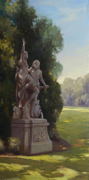 Young-Ji Cha, Huntington Garden, oil, 36 x 18.