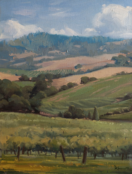 Young-Ji Cha, Summer Vineyard, oil, 12 x 9.