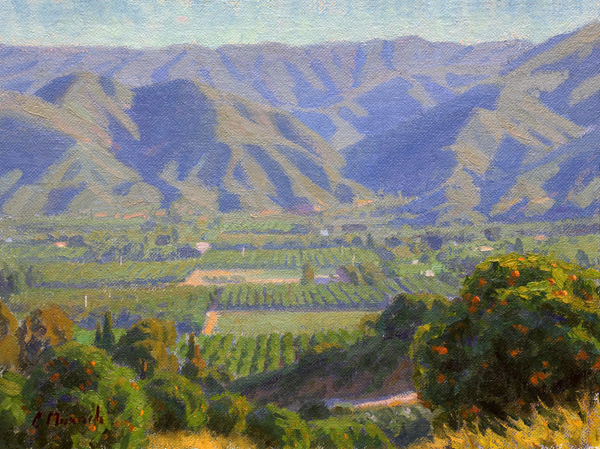 Charles Muench, Ojai Valley, oil, 9 x 12.