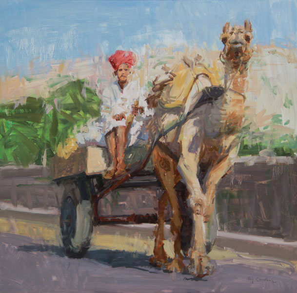 Raj Chaudhuri, A Camel Cart in Rajasthan, oil, 20 x 20.