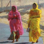 Raj Chaudhuri, Rajasthani Women Working Series: On the Way to Work, oil, 30 x 36.