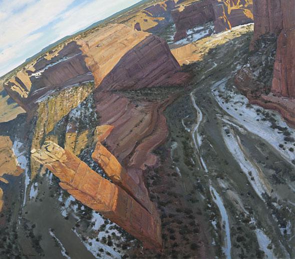 Arturo Chávez, As the Crow Flies, oil, 48 x 48.