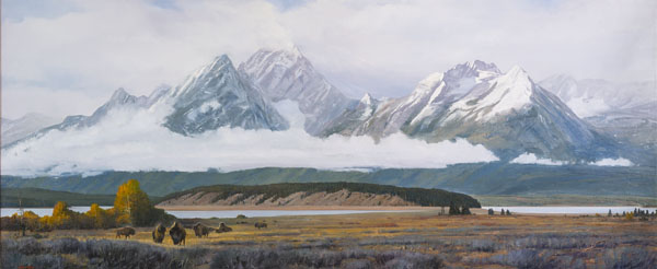 Arturo Chávez, Where the Buffalo Roam, oil, 50 x 120.
