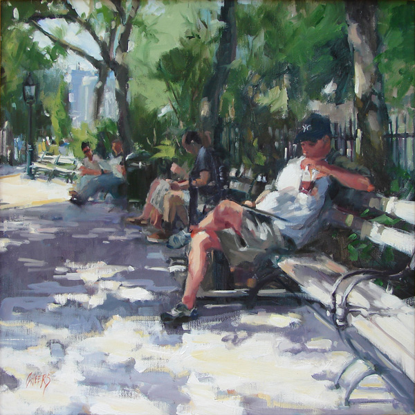 Robin Cheers, Park Shade, oil, 18 x 18.