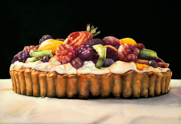 Chiaroscuro Tart, watercolor, 15 x 22.