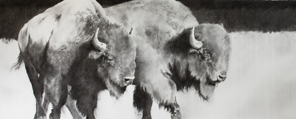 September Vhay, Chiefs of Day, charcoal, 30 x 77.