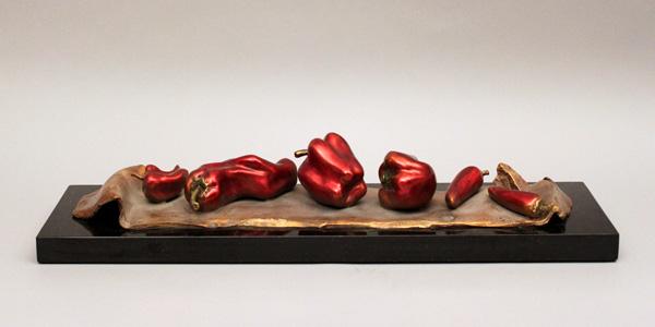 Darlis Lamb, French Lesson 18: Chili Festival, Festival de Piment, bronze, 4 x 27 x 7.