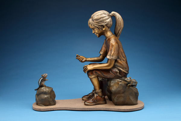 Mike Dwyer, Chipmunching, bronze, 36 x 18 x 30.