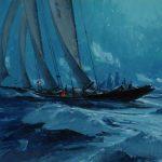 Christopher Blossom, Moonlit Rendezvous, oil, 10 x 12.