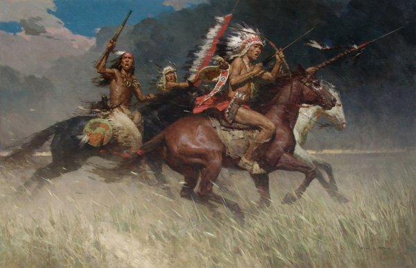Z.S. Liang, Circling the Enemy, oil, 46 x 72.