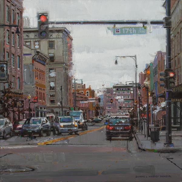 Dianne Massey-Dunbar, Cityscape I, oil, 12 x 12.