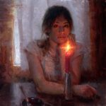 Adam Clague, In Her Eyes, oil, 16 x 16.