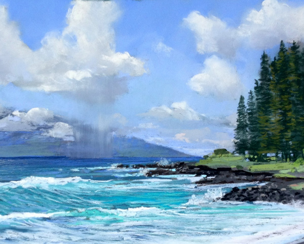 Michael E. Clements, View of the Big Island From Hamoa, pastel, 14 x 24.
