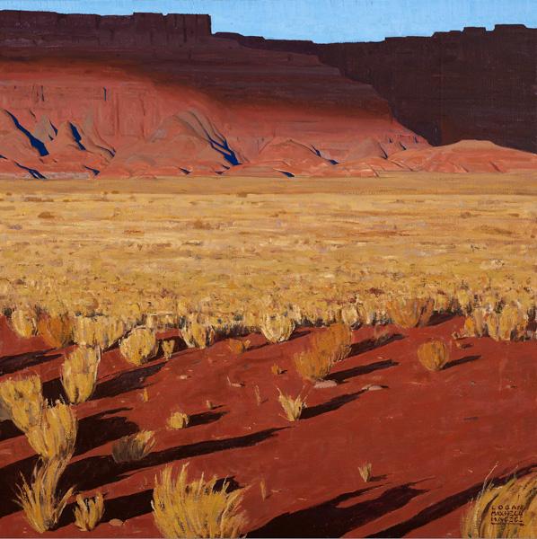 Logan Maxwell Hagege, Cloud Shadows on the Wall, oil, 50 x 50.