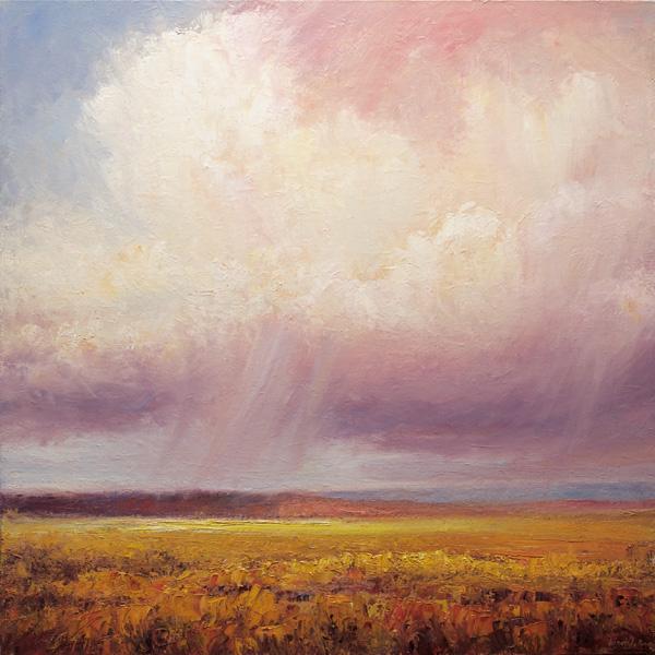 Matthew Higginbotham, Cloud Sweep Over Prairie Grass, oil, 40 x 40.