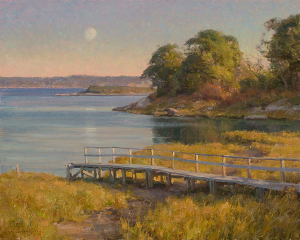 Clyde Aspevig, Moonrise Over Vineyard Sound, oil, 24 x 30.
