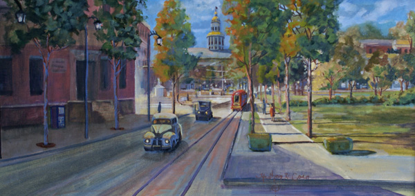 Heather Coen, Sunday Morning 1940, oil, 12 x 24.