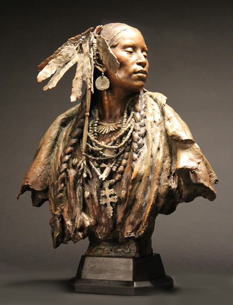 John Coleman, Walks in Beauty, bronze, 24 x 19 x 12.