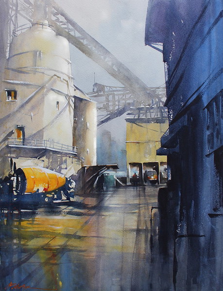 Thomas W. Schaller, Concrete Factory, Vancouver, watercolor, 30 x 22.