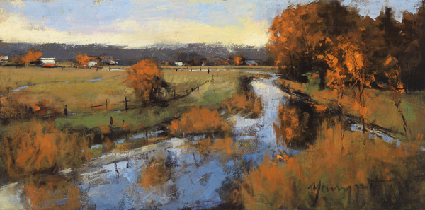 Romona Youngquist, Coos Bay Inlet, oil, 12 x 24.