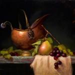 Elizabeth Robbins, Copper With Pear, oil, 12 x 16.