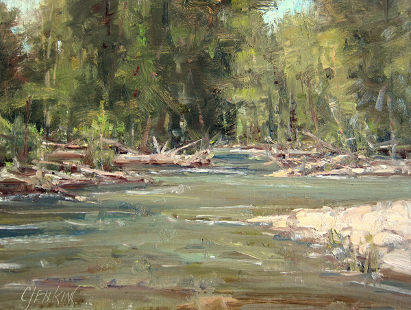 Carol Jenkins, Cottonwood Creek, oil, 9 x 12.